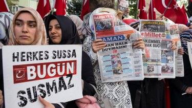 Supporters of the Koza-Ipek media group demonstrate for press freedom  in Istanbul, Turkey.