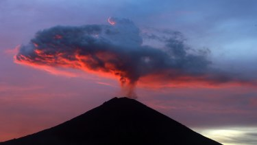 Clouds of ash from the Mount Agung volcano in Bali