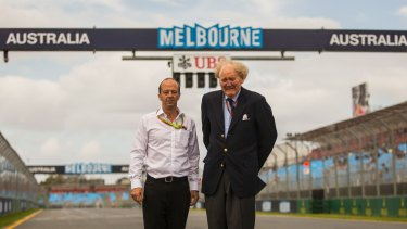 Ron Walker (right) and grand prix chief executive Andrew Westacott at Albert Park in 2015.