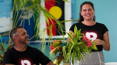 Charles Prouse and Nioka Tyson from the Recognise team address a meeting on Mer Island in the Torres Strait.