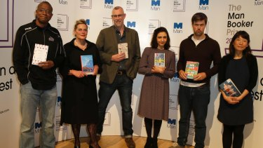 The Man Booker Prize shortlist writers: Paul Beatty; Deborah Levy (Hot Milk); Graeme Macrae Burnet (His Bloody Project); Ottessa Moshfegh (Eileen); David Szalay (All That Man Is); and Madeleine Thien (Do Not Say We Have Nothing).