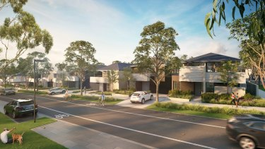 An artist's impression shows homes in the YarraBend development that will have Tesla batteries as part of a 'sustainable' approach.