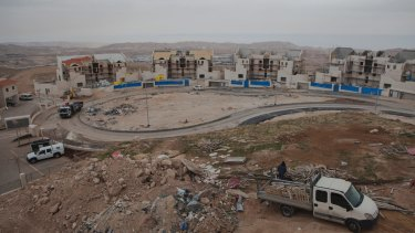 Construction of the Israeli settlement of Maale Adumim in the occupied West Bank.