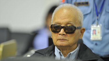 Former Khmer Rouge official Nuon Chea in the Extraordinary Chambers in the Courts of Cambodia.