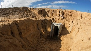 A clearing on the Israeli side of the Gaza border leads to the tunnel near the kibbutz of Kissufim.