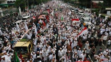 Thousands protest against Jakarta Governor Basuki Tjahaja Purnama on Friday.