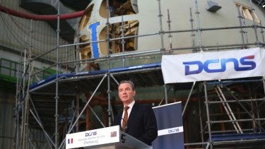 Christopher Pyne, Minister for Defence Industry at the DCNS shipyards in France.