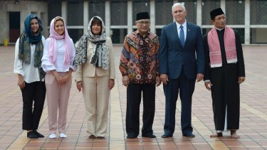 US Vice-President Mike Pence with (from left) his daughters Audrey and Charlotte, his wife Karen, the chairman of Istiqlal Mosque Muhammad Muzammil Basyuni and the Grand Imam of the mosque, Nasaruddin Umar.