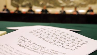 A press release detailing some of the chemical substances to be banned in China is seen at a media conference in Beijing last week.
