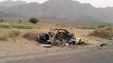 The destroyed vehicle in which Mullah Mohammad Akhtar Mansour is believed to have been travelling before the drone strike.