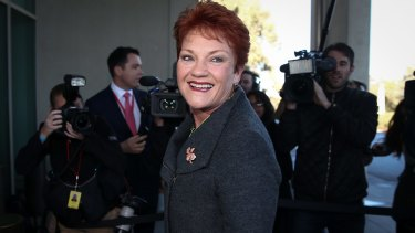 Senator Pauline Hanson arrives at Parliament House in Canberra on Tuesday for 'Senate school'.