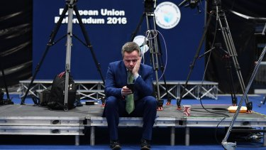 A Remain campaigner checks his  phone for updates at the EU referendum count in Belfast, Northern Ireland.