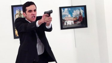 Turkish police officer Mevlut Mert Altintas shoots and kills Andrei Karlov Russian Ambassador to Turkey.