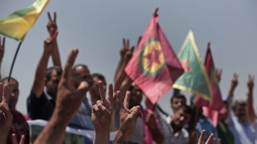 The red flag of the Kurdistan Workers' Party si waved in south-eastern Turkey.