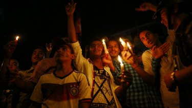 Celebrating Nepal's new constitution in Kathmandu on Sunday. n