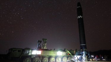 The North Korean Hwasong-15 intercontinental ballistic missile ready for launch in North Korea.