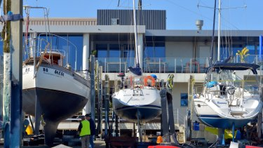 Some of the stranded yachts at Royal Brighton Yacht Club, after the boat ramp was deemed unusable.