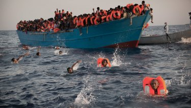 Migrants, mostly from Eritrea, during a rescue operation at the Mediterranean sea, north of Sabratha, Libya last month.