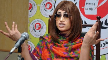 Qandeel Baloch, pictured here on June 28, at a press conference in Lahore, Pakistan.