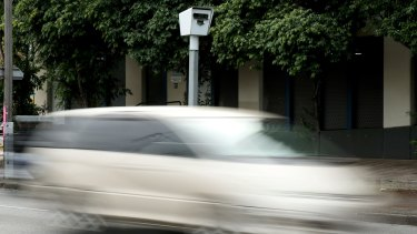 A fixed speed camera at the Kings Way-Park St intersection in South Melbourne.