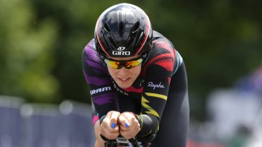 Focused: Tiffany Cromwell at the Australian road championships.