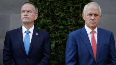 Bill Shorten and Malcolm Turnbull mark the start of the parliamentary year at the Australian War Memorial on Monday.