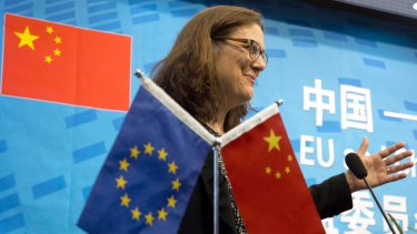 EU Trade Commissioner Cecilia Malmstrom in Beijing in 2016. She says despite China's preparedness to take on world trade leadership, it hasn't happened yet.