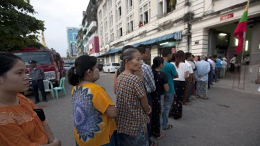 Myanmar's voters line up at a polling station.