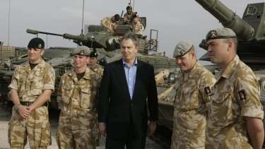 Tony Blair visits troops in Iraq on December 22, 2005.