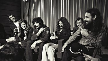 On tour: Black Sabbath meet the Sydney press.