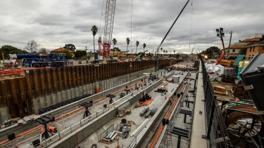 Project managers say the work is proceeding as planned at stations like Bentleigh.