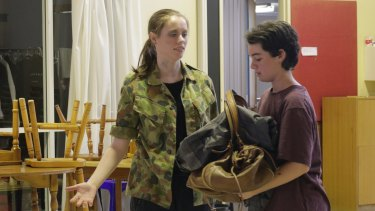 Sierra (Katherine Berry, Cast 1), left, tries unsuccessfully to get Indi (Annie Scott, Cast 1) to leave in a scene from Foxes.