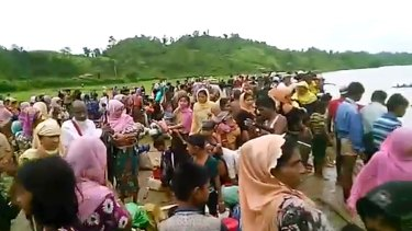 Video released by Arakan Rohingya National Organisation shows Rohingya fleeing to Bangladesh.