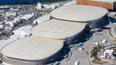 From left: Carioca Arenas 3, 2 and 1 and the Handball arena (square).