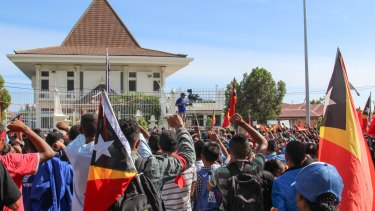 Thousands joined the protests outside the Australian embassy.