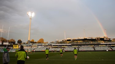 The Raiders trained under lights – and a rainbow – at Canberra Stadium on Wednesday.