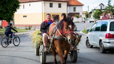 A father and son ride a horse and cart in the small rural village of Rasnov, Romania.