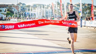 Harry Summers, the first man to cross the finish line at the <i>The Sun Herald</i> City2Surf at Bondi Beach last August.