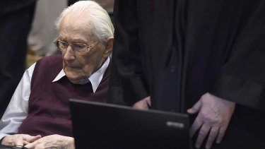 "Oskar Groening, defendant and former Nazi SS officer dubbed the ""bookkeeper of Auschwitz""."