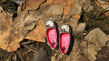 A pair of hello kitty shoes lay at one of the sites where the front section of Malaysian flight MH17 crashed and the pilots bodies were found. 298 people were killed, including 38 Australians.