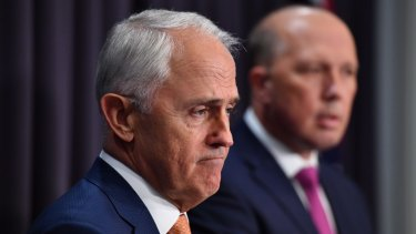 Prime Minister Malcolm Turnbull and Minister for Immigration Peter Dutton at a press conference in Canberra on Monday.