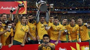 Relaxed: Australia's Massimo Luongo (front) takes a selfie with his teammates.