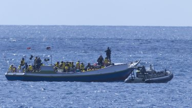 A boat carrying asylum seekers is intercepted by a Customs vessel in 2011.