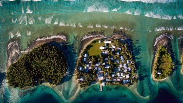 An overhead view of Ejit, of the Marshall Islands, where rising sea levels are already an inescapable part of daily life.