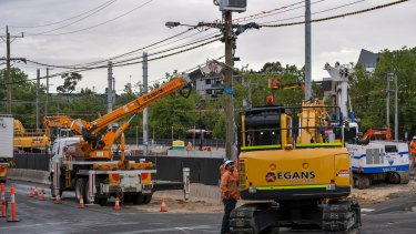 Work begins on the Blackburn Road level crossing removal.