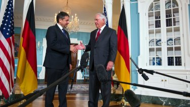Secretary of State Rex Tillerson meets with German Foreign Minister Sigmar Gabriel at the State Department in Washington.