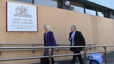 Parents Faye and Mark Leveson arrive at the Glebe Coroners Court.