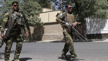 Afghanistan's National Army soldiers patrol in Herat, west of Kabul, Afghanistan, on Wednesday.