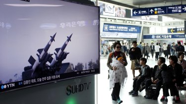 South Korean TV reports a North Korean surface-to-air missile launch into waters off its east coast on April 1.