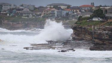 Wild waves hit Lurline Bay, South Coogee.